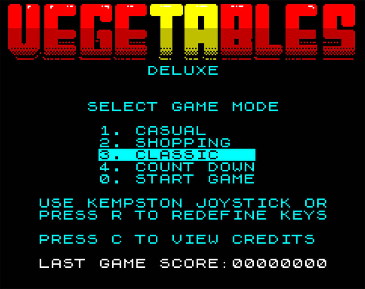 Vegetables Deluxe (ZX Spectrum) - Double Sided Games